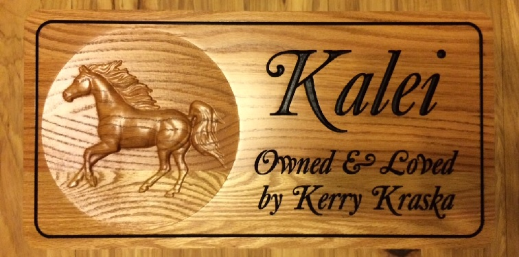AG RO 3D - 3D Horse Red Oak Stall Sign