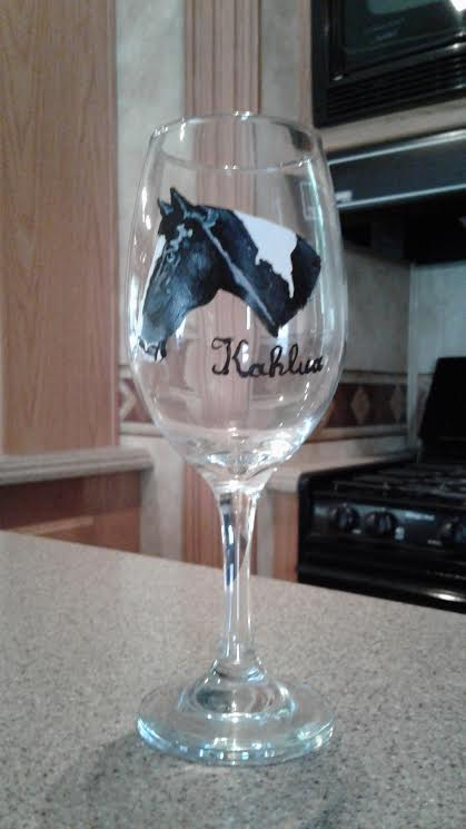 KK WINE1 - Hand Painted Wine Glass YOUR Horse